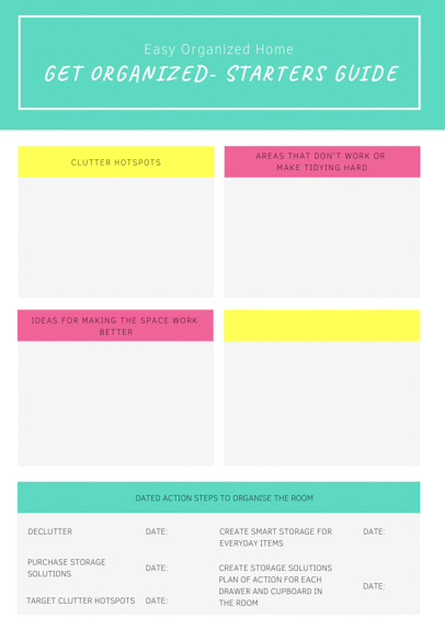 Printable Organizing checklist