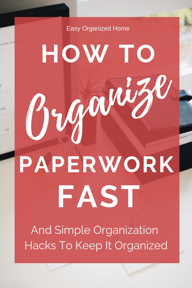 Get your home office or workplace paperwork organized with these great organization hacks. No more paper clutter or lost paperwork. #paperworkorganization #peperworkorganizationideas #paperworkorganizationfilingsystem #organizing #organization #declutter #paperworkstorageideas #homeofficeorganization #deskorganization #homeorganization