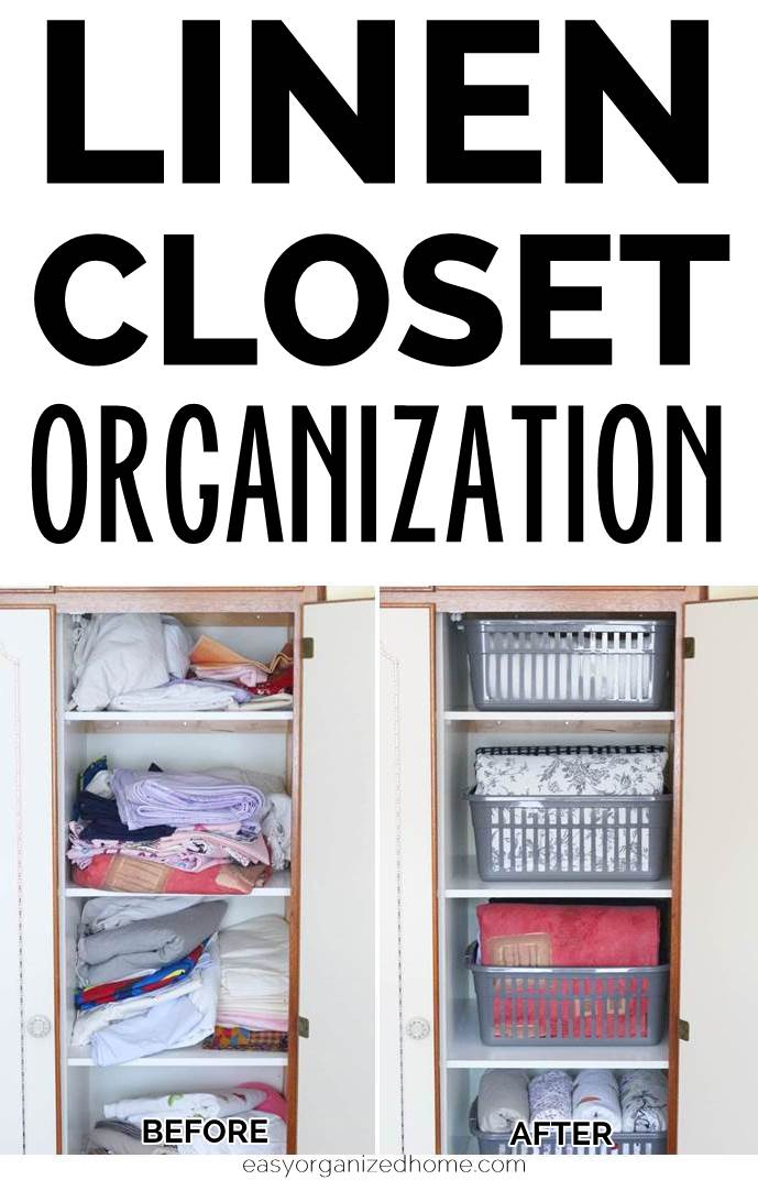 Before and after linen closet organization ideas to get your sheets organized on a budget. I love this DIY idea using basket organizers to keep sheets tidy up in deep shelves closets. #declutter #decluttering #declutteryourhome #declutteringtips #declutteringahouse #organization #organize #organizing #organizationideas
