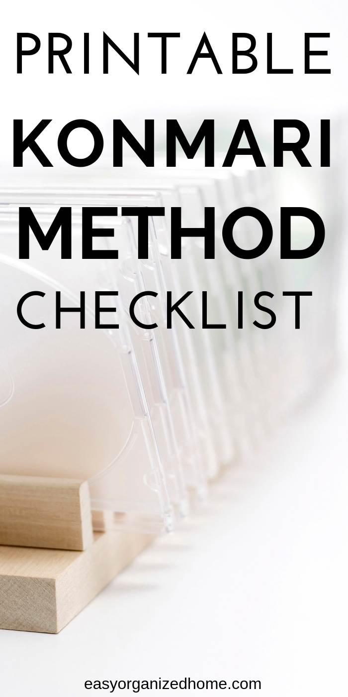 Easy printable konmari method checklist to help you keep track of your home decluttering #declutter #decluttering #declutteryourhome #declutteringtips #declutteringahouse #organization #organize #organizing #organizationideas