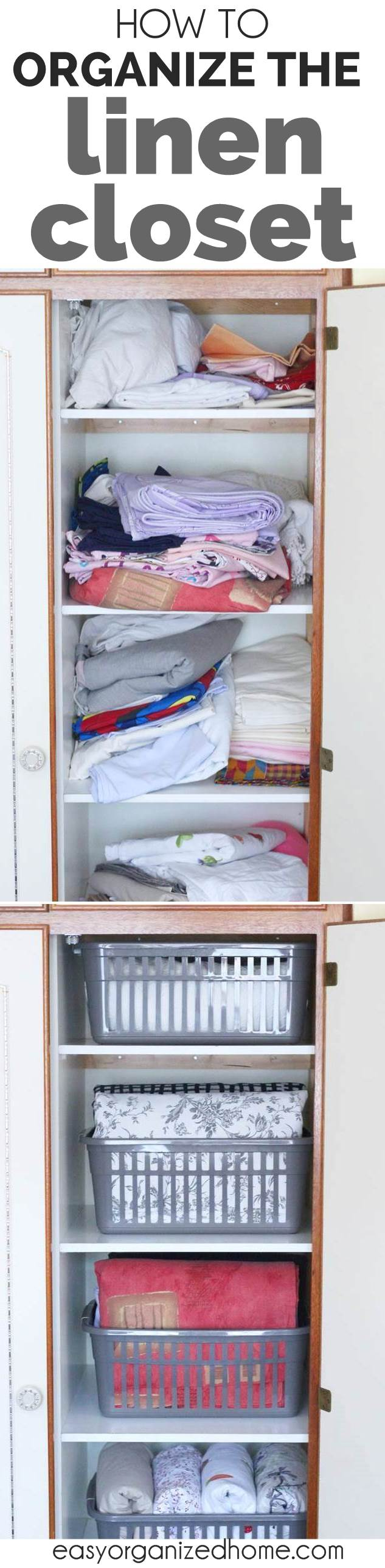 How to organize a linen closet. Check out our before and after photos of linen closet organization for small spaces and DIY makeover on a budget with dollar store ideas #declutter #decluttering #declutteryourhome #declutteringtips #declutteringahouse #organization #organize #organizing #organizationideas
