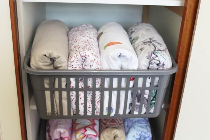 linen organized in closet