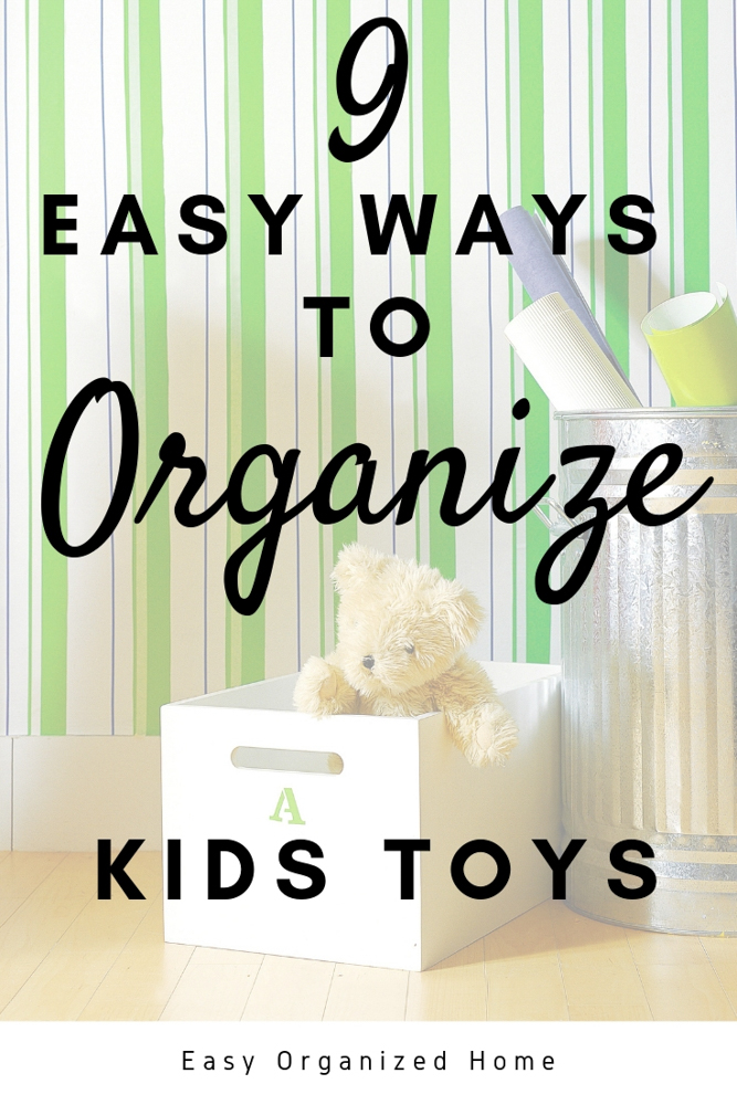 Tired of tripping over toys or nagging kids to put things away? Find 9 easy ways to store toys and some amazing organization hacks to help the playroom stay neat. #kidstoystorage #playroomorganization #toystorageideas #playroomstorage 3kidsorganization #organizationhacks #homeorganization #getorganized