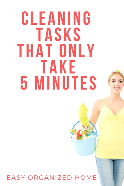 Easy ways to keep your home clean and tidy with 5 minute tasks. #homemaking #housekeeping #cleaning #homehacks #cleaninghacks #homemakingideas