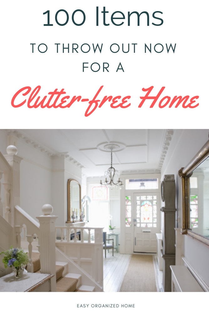 Too much clutter? Don't know where to start? Find our list of 100 items you can throw out today for a clutter free home. #declutter #decluttering #declutteryourhome #declutteryourlife #howtodeclutter