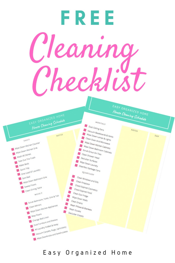 Want a clean home all the time? Follow this free printable Cleaning Checklist with daily, weekly and monthly task. #cleaningschedule #cleaningscheduleforworkingmom #cleaningscheduleprintable #cleaningchecklist #cleaning #cleaninghack #cleaningtip #housecleaning #homecleaning