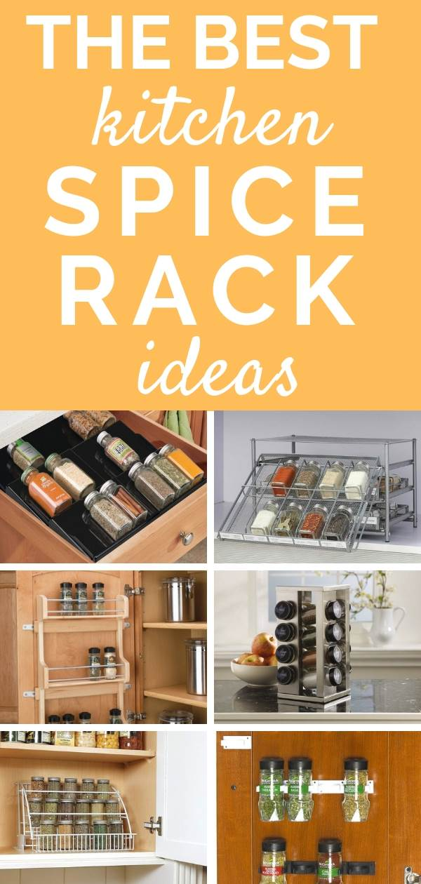 Awesome kitchen spice rack ideas to help keep your spice cabinet or cupboard, drawers and pantry organized. The best products for spice organization, includes racks for small spaces, lazy susan revolving storage and spice jar clippers for the door. #spicerack #kitchen #kitchenorganization #kitchenorganizationideas #kitchenorganizing #kitchenideas #organizedkitchen #organize #organizedpantry #pantryorganization