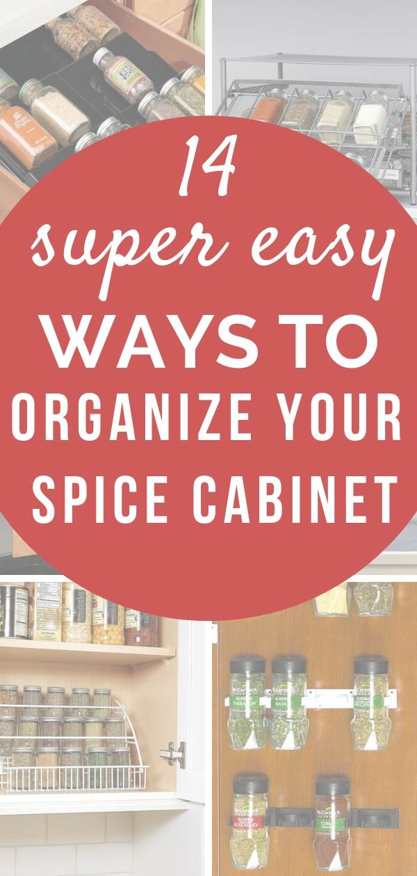 Easy ways to achieve spice cabinet organization with these simple kitchen hacks and organizing ideas. Includes lazy Susan spice racks, pull out, narrow and spice racks for the corner, organization solution for cupboard doors and pantries. #spicerack #kitchen #kitchenorganization #kitchenorganizationideas #kitchenorganizing #kitchenideas #organizedkitchen #organize #organizedpantry #pantryorganization