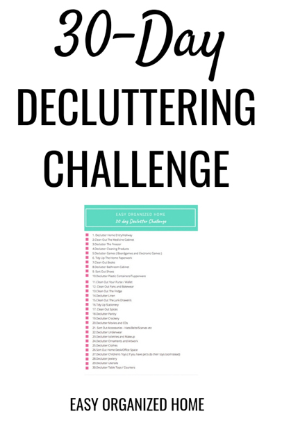 Want to know how to declutter your home? Try this easy 30-day challenge to declutter your home. #declutter #declutterhome #declutteringyourhome #30daychallenge #decluttering #clutter #declutterchallenge