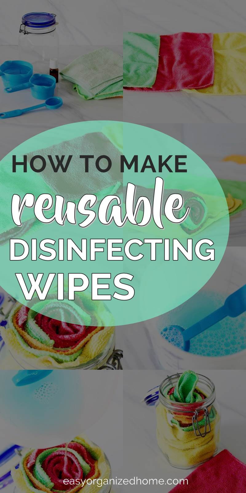 How to make reusable disinfecting wipes. Check this easy tutorial to make homemade cleaning wipes that are eco friendly and safe from chemicals using vinegar, water and essential oils. #cleaning #cleaningwipes