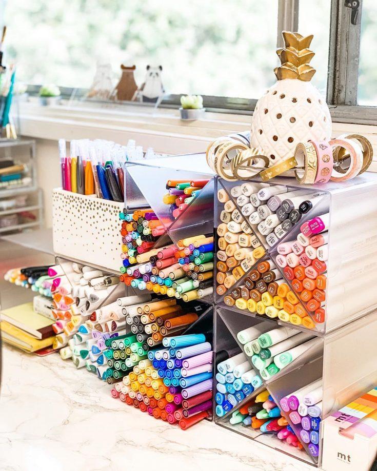 Stackable pen organizer cubes