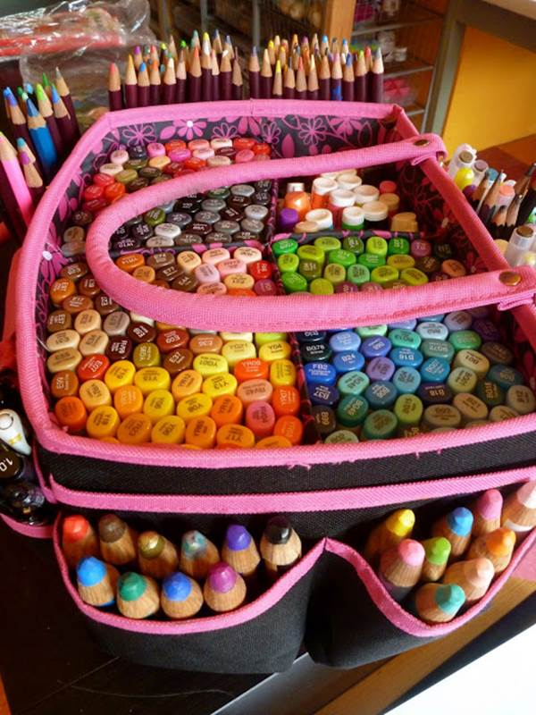 Organize your pens and colored pencils in a bag