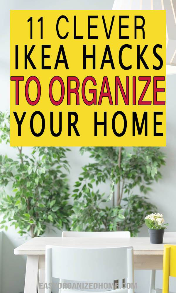 11 IKEA Hacks For A More Organized house on a budget. Easy DIY projects to increase the storage in small spaces and apartments. These ikea organization hacks are perfect to keep your bedroom, living room and office organized. #kitchenorganization #kitchenhacks