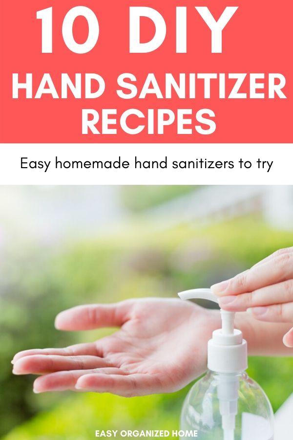 Easy Homemade hand sanitizer recipes tp try. #diyhandsanitizer #homemadehandsanitizer #naturalhandsanitizer #essentialoilhandsanitizer #nonalcoholhandsanitizer #handsanitizerrecipe
